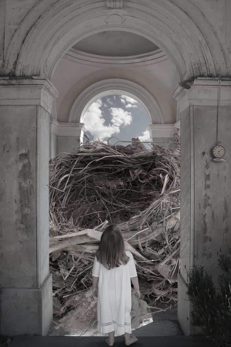 Empty childhood, Little girl in front of a bird's nest