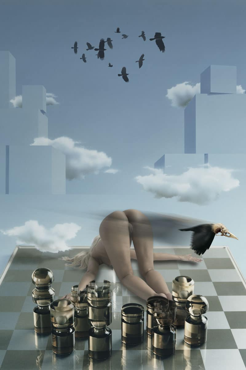 Touching the edge of life. Naked girl on chessboard.